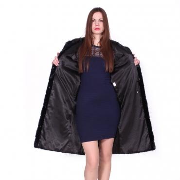 Французское пальто из норки с капюшоном
