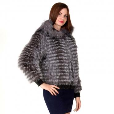 Hot - Куртка из чернобурки с капюшоном