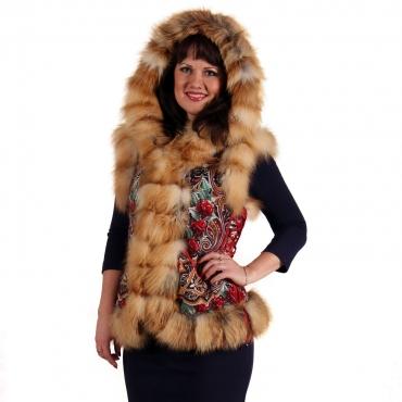 RUS Жилет из лисы с капюшоном