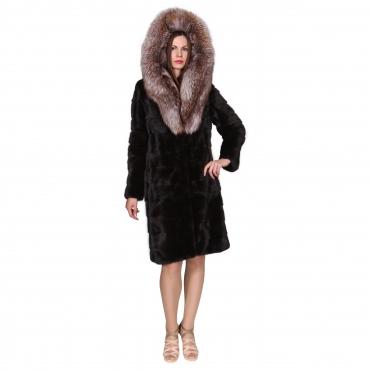 Французское пальто из норки с капюшоном из лисы