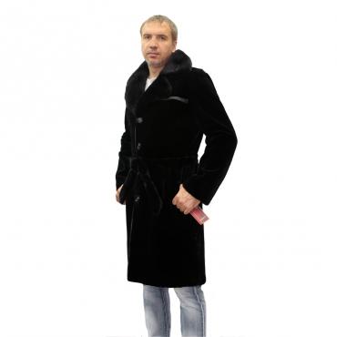 Пальто из норки с английским воротником
