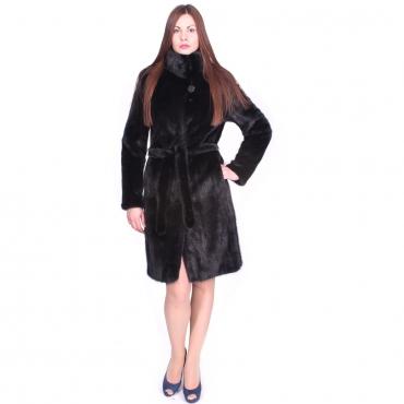 Hot -Пальто из норки с воротником